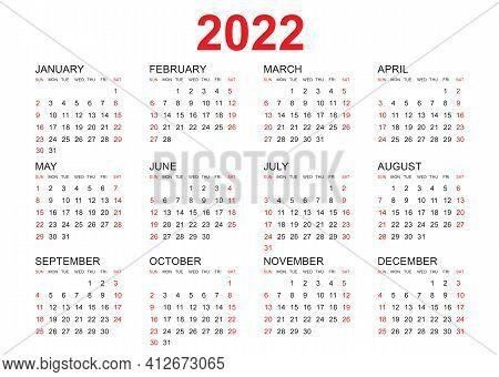 Calendar 2022 Template Vector, Simple Minimal Design, Planner 2022 Year, Wall Calendar 2022 Year, We
