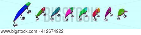 Set Of Fishing Lure Cartoon Icon Design Template With Various Models. Modern Vector Illustration Iso