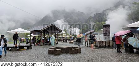People Use Boiling Water To Cook Food By The Cooking Poor Of Qingshui Geothermal Park, Yilan, Taiwan