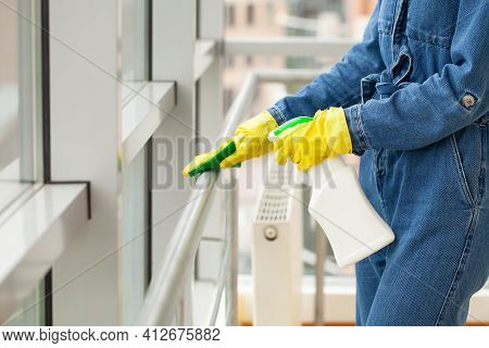 Cleaning Concept, Young Woman With Supplies Cleaning Office