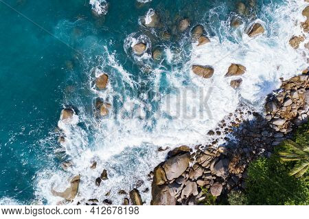 Amazing Aerial View Of Crashing Waves On Rocks Seascape Nature View And Beautiful Tropical Sea With