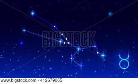 Taurus Constellation In Night Starry Sky. Zodiac Sign Taurus