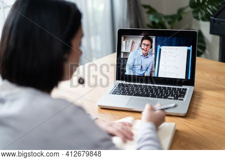 Homeschool Caucasian Cute Young Girl Student Learning Virtual Internet Online Class From School Teac