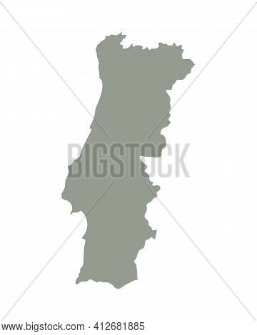 Silhouette Of Portugal Country Map. Highly Detailed Editable Gray Map