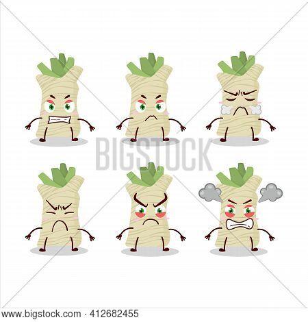 Horseradish Cartoon Character With Various Angry Expressions