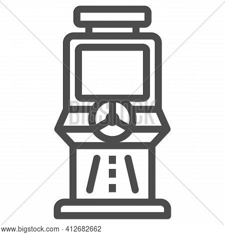 Race Slot Machine Line Icon, The Rides Concept, Gaming Machine Sign On White Background, Racing Slot
