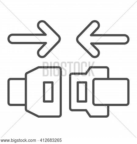 Fasten Seat Belt Thin Line Icon, Car Parts Concept, Safe Belts Sign On White Background, Travel Seat