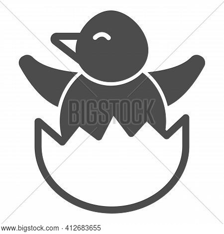 Chick In Eggshell Solid Icon, Happy Easter Concept, Chick Peeking Out Of Egg Shell Sign On White Bac