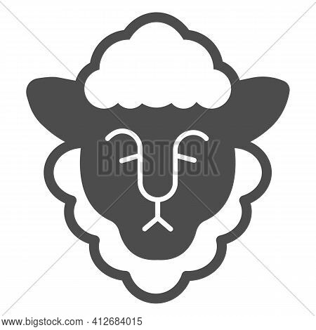 Head Of Sheep With Wool Solid Icon, Happy Easter Concept, Happy Goat Head Sign On White Background,