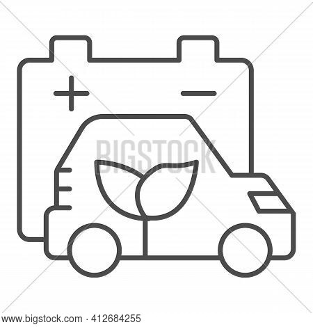 Battery And Electric Vehicle With Plant Thin Line Icon, Electric Car Concept, Eco Friendly Vehicle C