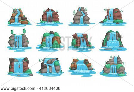Set Of Waterfall. River Waterfall Falls From Cliff White Background. Water Fall Streams