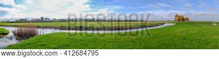 Fairfield, Kent, United Kingdom - March 19, 2020: Panorama Of St Thomas A Becket Church In Romney Ma