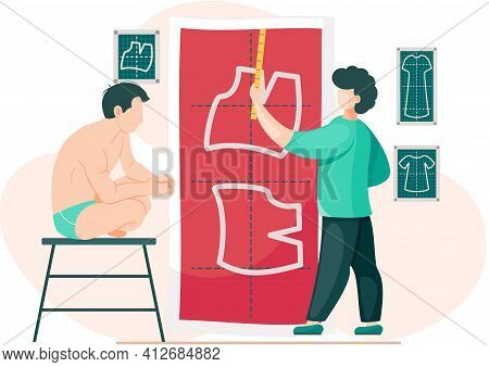 Man Planning Model Of Future Garment. Guy In Underwear Sits On Stool And Looks At Pattern Of Jacket