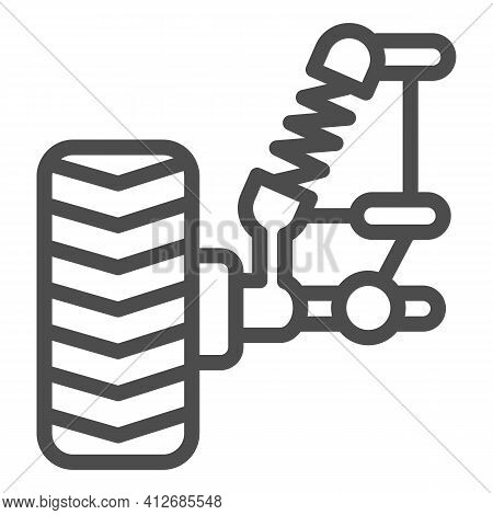 Car Wheel And Suspension With Shock Absorber Line Icon, Car Parts Concept, Suspension Parts Symbol O