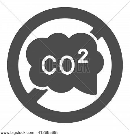 Banned Co2 Sign Solid Icon, Electric Car Concept, Carbon Dioxide Caution Sign On White Background, N