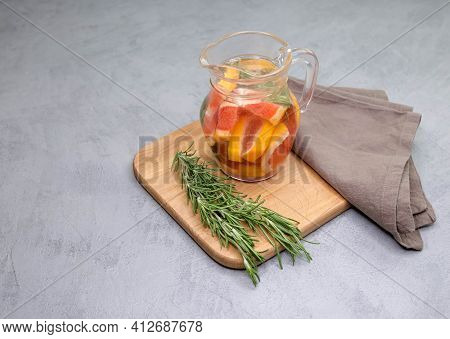 Jar Of Traditional Red Spanish Sangria Drink. Soft Drink In A Jug. Refreshing Summer Homemade Cockta