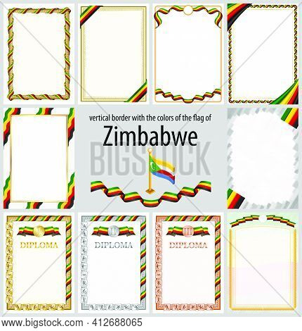 Set Of Vertical Frames And Borders In The Colors Of The Flag Of Zimbabwe, Template Elements For Your