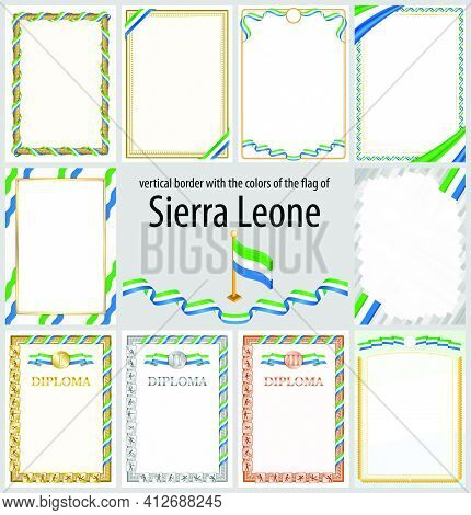 Set Of Vertical Frames And Borders In The Colors Of The Flag Of Sierra Leone, Template Elements For