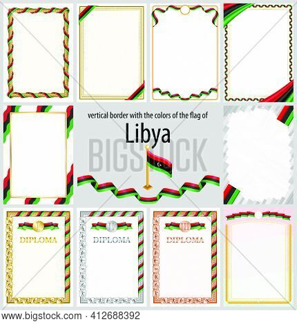 Set Of Vertical Frames And Borders In The Colors Of The Flag Of Libya, Template Elements For Your Ce