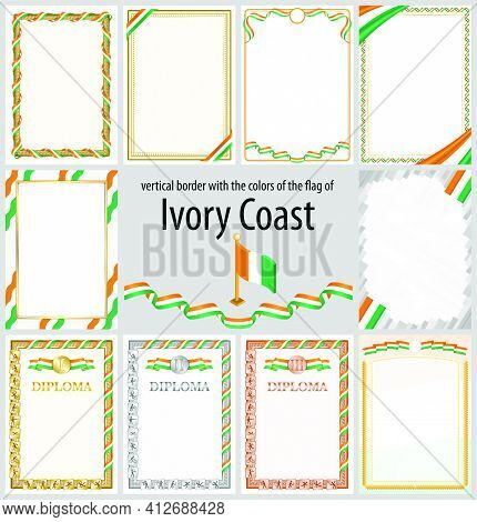 Set Of Vertical Frames And Borders In The Colors Of The Flag Of Ivory Coast, Template Elements For Y