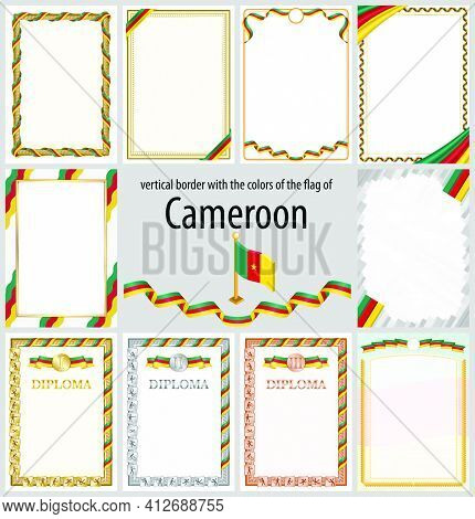 Set Of Vertical Frames And Borders In The Colors Of The Flag Of Cameroon, Template Elements For Your