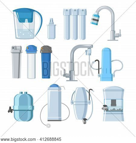 Water Filters And Mineral Filtration Systems Set. Home Pitcher Jug Container, Undersink, Countertop