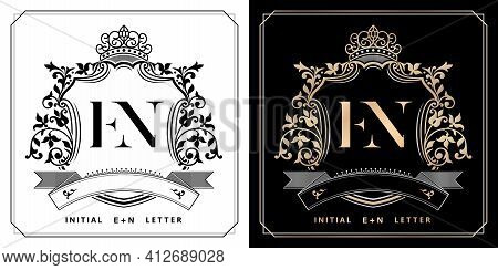 En Royal Emblem With Crown, Set Of Black And White Labels, Initial Letter And Graphic Name Frames Bo