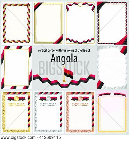Set Of Vertical Frames And Borders In The Colors Of The Flag Of Angola, Template Elements For Your C