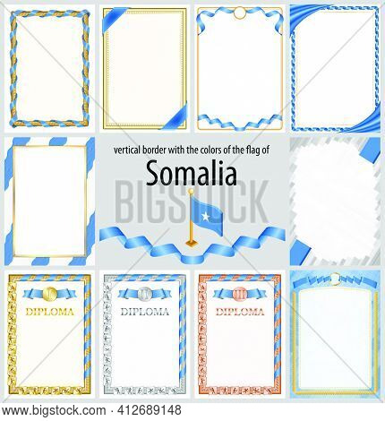 Set Of Vertical Frames And Borders In The Colors Of The Flag Of Somalia, Template Elements For Your
