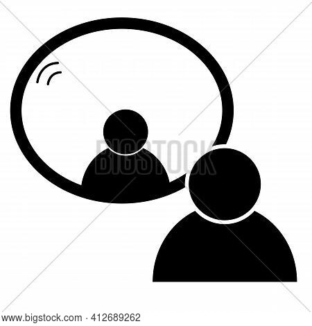 Mirror Icon On White Background. Flat Style. Man Standing In Front Of A Mirror. Men Look To Mirror S