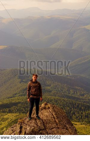 Young Boy, Tourist, Portrait Photos Of A Guy In The Carpathian Mountains, Picturesque And Impressive