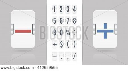 Flip Countdown Number On Transparent Vector Template. Vintage Clock Time Counter. White Scoreboard N