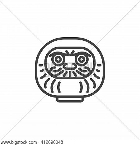 Daruma Doll Line Icon. Linear Style Sign For Mobile Concept And Web Design. Traditional Japanese Dol