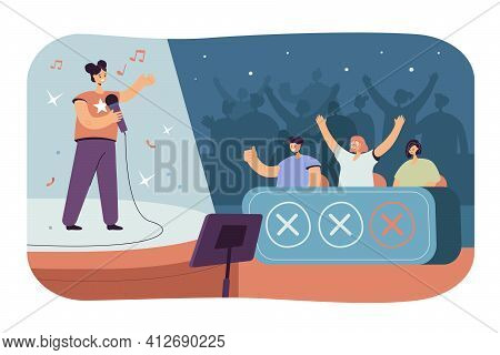 Happy Woman Singing At Tv Talent Show In Front Of Jury Celebrities Isolated Flat Vector Illustration