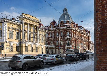Tomsk, Russia - March 12, 2021. The Central Part Of The City Of Tomsk - Lenin Avenue