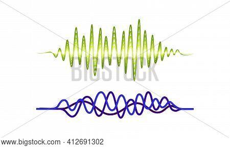 Acoustic Soundwave Or Audible Sound Track With Graph Vibration Vector Set