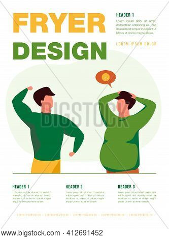 Fat And Sporty People Comparison. Overweight Guy Envious Of His Well Built Friend. Flat Vector Illus