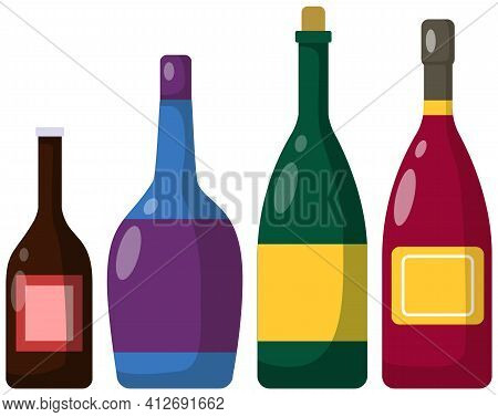 Different Bottles Of Alcohol. Alcoholic Drinks Of Different Strength In Glass Containers With Cork