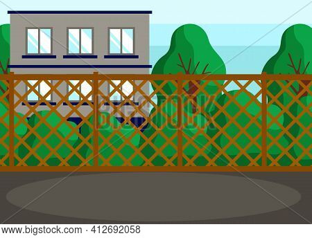 Green Spaces And Building Behind Carved Wooden Fence. Place Or Hanging Out And Hosting Events