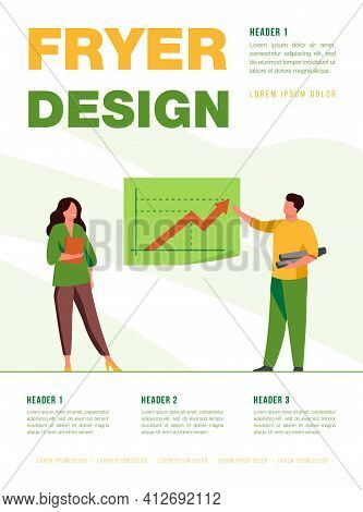 Happy Analysts Showing Growth Statistics And Standing. Arrow, Draft, Finance Flat Vector Illustratio