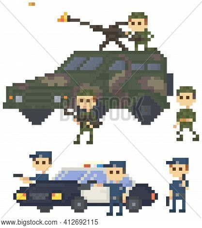 Soldiers And Police In Uniform Near Pixelated Combat Camouflage Transport For Pixel-game Design