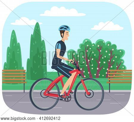 Guy In Helmet And Sportswear Riding In Park. Man Rides Bicycle On Road. Male Character Doing Sports