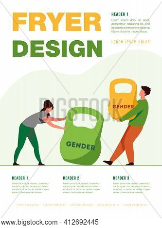 Gender Discrimination And Inequality. Man And Woman Lifting Kettlebells Of Different Weight. Flat Ve