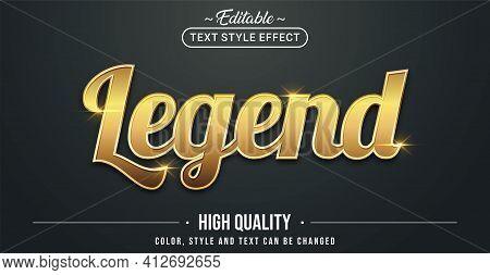 Editable Text Style Effect - Legend Theme Style. Graphic Design Element.
