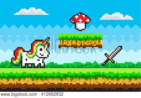 Color Pixel Game With White Unicorn Fairy Tale Personage Stands On Pixelated Meadow Against Blue Sky