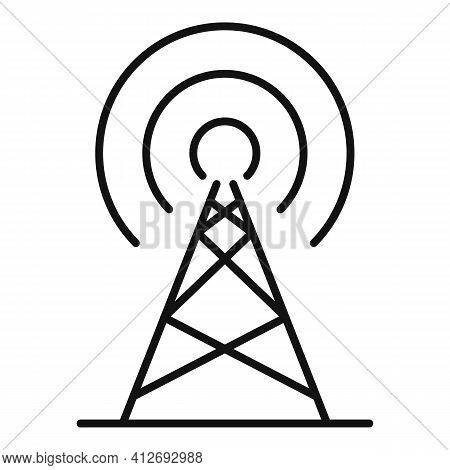 Radio Metal Tower Icon. Outline Radio Metal Tower Vector Icon For Web Design Isolated On White Backg