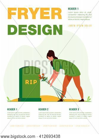 Woman Visiting Relatives Grave. Person Laying Flowers At Headstone. Flat Vector Illustration. Grief,