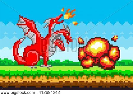 Pixel Monster Character Red Three-headed Dragon. Pixelated Dinosaur With Wings Breathes Fire