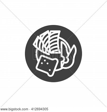 Breakfast With Bacon And Toast Vector Icon. Filled Flat Sign For Mobile Concept And Web Design. Heal