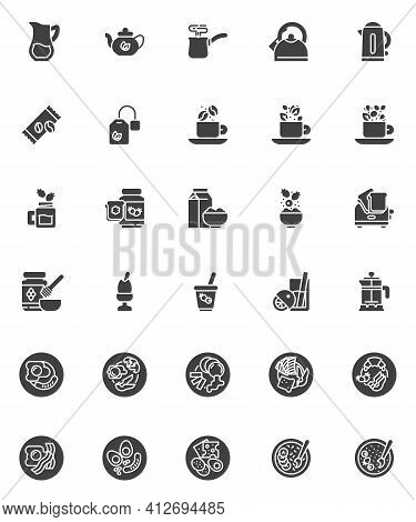 Breakfast Menu Vector Icons Set, Modern Solid Symbol Collection, Filled Style Pictogram Pack. Signs,